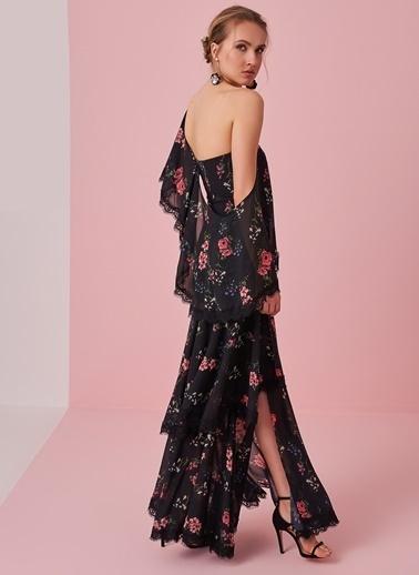 morhipo x dcey Dantel Detaylı Çiçek Desenli Elbise Siyah